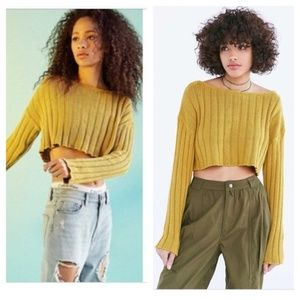 Silence & Noise Ribbed Mustard Crop Sweater